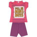 Conjunto Infantil Menina Blusa Mini Boss Pink e Short Roxo
