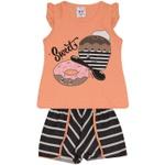 Conjunto Infantil Menina Blusa Sweet Donuts Laranja e Short Listrado