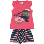 Conjunto Infantil Menina Blusa Sweet Donuts Pink e Short Listrado