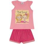 Conjunto Infantil Menina Blusa Best Friend Rosa e Short Pink