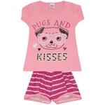 Conjunto Infantil Menina Blusa Pugs Rosa e Short Listrado Pink