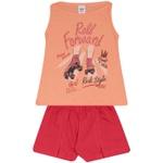 Conjunto Infantil Menina Blusa Roll Forward Laranja e Short Vermelho
