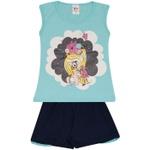 Conjunto Infantil Menina Blusa Azul Menina Com Unicórnio e Short Marinho
