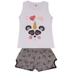 Conjunto Infantil Menina Blusa Branca Panda e Short Estampado Pandinhas