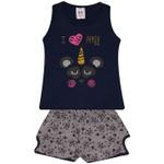 Conjunto Infantil Menina Blusa Marinho Panda e Short Estampado Pandinhas
