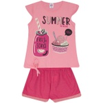 Conjunto Infantil Menina Blusa Rosa Fresh Soda e Short Pink