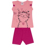 Conjunto Infantil Menina Blusa Rosa Gatinha e Short Pink