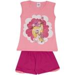 Conjunto Infantil Menina Blusa Rosa Menina e Unicórnio e Short Pink