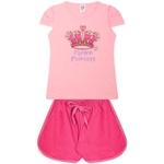 Conjunto Infantil Verão Menina Coroa Princesa Rosa