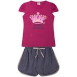 Conjunto Infantil Verão Menina Coroa Princesa Violeta