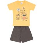 Conjunto Infantil Verão Menino Camiseta Amarela Say Cheese e Short