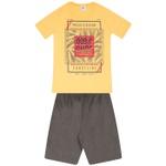 Conjunto Infantil Menino Camiseta Amarela Pacific Ocean e Bermuda Tectel