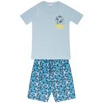 Conjunto Infantil Menino Camiseta Azul Beach e Bermuda Tectel