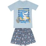 Conjunto Infantil Menino Camiseta Azul Tubarão Surfista e Short