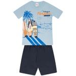 Conjunto Infantil Camiseta e Bermuda Tectel Verão Menino Surf Azul
