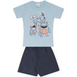 Conjunto Infantil Verão Menino Camiseta Azul Say Cheese e Short