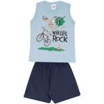 Conjunto Infantil Menino Regata Dog Azul Wheelie Rock e Short Moletinho