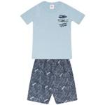 Conjunto Infantil Menino Camiseta Azul Airplanes e Bermuda Tectel