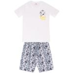 Conjunto Infantil Menino Camiseta Branca Beach e Bermuda Tectel