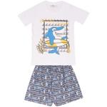 Conjunto Infantil Menino Camiseta Branca Tubarão Surfista e Short