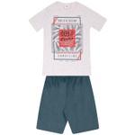 Conjunto Menino Camiseta Cinza Pacific Ocean e Bermuda Tectel