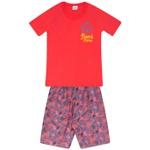 Conjunto Menino Camiseta Vermelha Beach e Bermuda Tectel