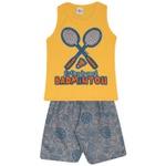Conjunto Infantil Verão Menino Regata Amarela Badminton e Short Moletom