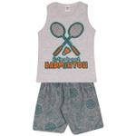 Conjunto Infantil Verão Menino Regata Cinza Badminton e Short Moleton
