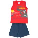 Conjunto Infantil Verão Menino Regata Vermelha Aligator e Short