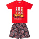Conjunto Infantil Menino Verão Camiseta Vermelha + Bermuda Tectel Excavator