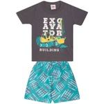 Conjunto Infantil Menino Verão Camiseta Chumbo + Bermuda Tectel Excavator