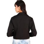 Blazer Feminino Curto Acinturado Manga Longa Elegante Preto