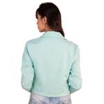 Blazer Feminino Curto Acinturado Manga Longa Elegante Azul Tifanny