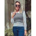 Blusa Feminina Modelo Xadrez Colorido Pied Poule Moda Tendência