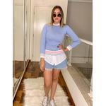 Blusa Tricot Poa Fofa Azul e Rosa Moda Tendência