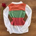 Blusa Tricot Modelo Xadrez Pied Poule Moda Tendência Colorido
