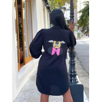 Camisão Chemise Personagens Disney Vestido Feminino Preto