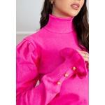 Blusa Gola Alta Inverno Malha Canelada Punho babados e Botões Pink