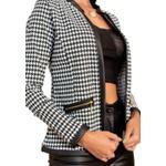 Blazer Casaco Pied Poule Elegante Moda Blogueira Blusa Modal