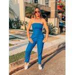 Macacão Feminino Decote Costa Bolso Detalhe Ombro Blogueira