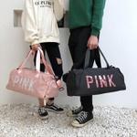 Bolsa Transversal Mala de Mão Pink Preto Escrito em Rosa