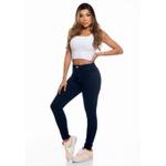 Calça Jeans Casual Cós Alto Azul Escuro