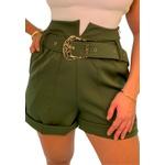 Shorts Mari de Alfaiataria Cintura Alta C/ Bolso Faca e Cinto De Fivela Verde Militar