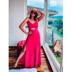 Vestido Ariane Longo Fenda Pink