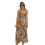 Vestido Longo Estampa De Onça Midi Alça Fina Moda Feminina