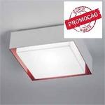 Plafonier Sobrepor Branco e Vermelho em Alumínio 45 Cm Nicole TY-450 100/4 para 4 lâmpadas.