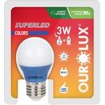 Lâmpada Superled S30 Colors 3W Bivolt AZUL 05432 - OUROLUX