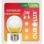 Lâmpada Superled S30 Colors 3W Bivolt AMARELA 05433 - OUROLUX