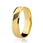 Aliança de Ouro 18K Trabalhada Diagonal 5mm