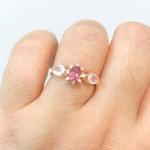 Anel de Ouro Rosé 18K com Pedras de Turmalina Rosa e Quartzo Rosa